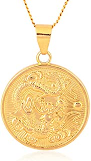 Antiquity Sian Art 24K Gold Plated Copper Dragon Statues Coin Pendant Necklace for Men and Women Girl