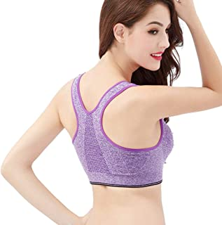 feelingood Women Sports Bra Front Zipper Underwear Breathable Casual for Running Fitness Yoga