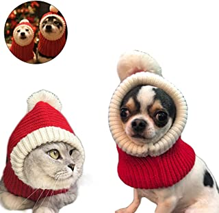Yu-Xiang Funny Christmas Cat Hat with Pompon Crocheted Snood Dog Red Warm Cap Winter Dog Scarf Knit Snood Headwear for Pets & Women & Man & Dogs