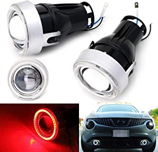 iJDMTOY 3-Inch Projector Fog Light Kit w/ 40-SMD Brilliant Red LED Halo Ring Angle Rings, Universal Fit With Car SUV Truck...