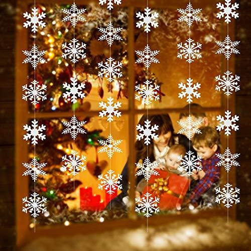 PERFETSELL 12 Stücke Schneeflocken Girlande 1.8M Lang Schneeflocken Deko Schneeflocken zum Aufhängen Papier Weihnachten Schnee Dekoration Anhänger Snowflakes String für Winterdeko Winter Weihnacht