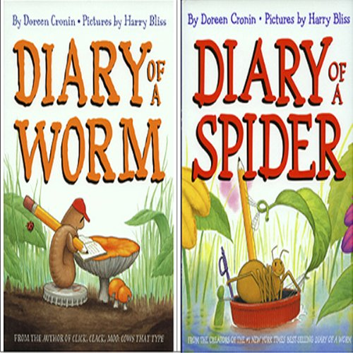 'Diary of a Spider' and 'Diary of a Worm' audiobook cover art