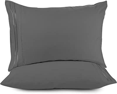 Nestl Bedding Solid Microfiber Queen/Standard 20 x 30 Inches Pillowcases, Charcoal Grey (Set of 2)