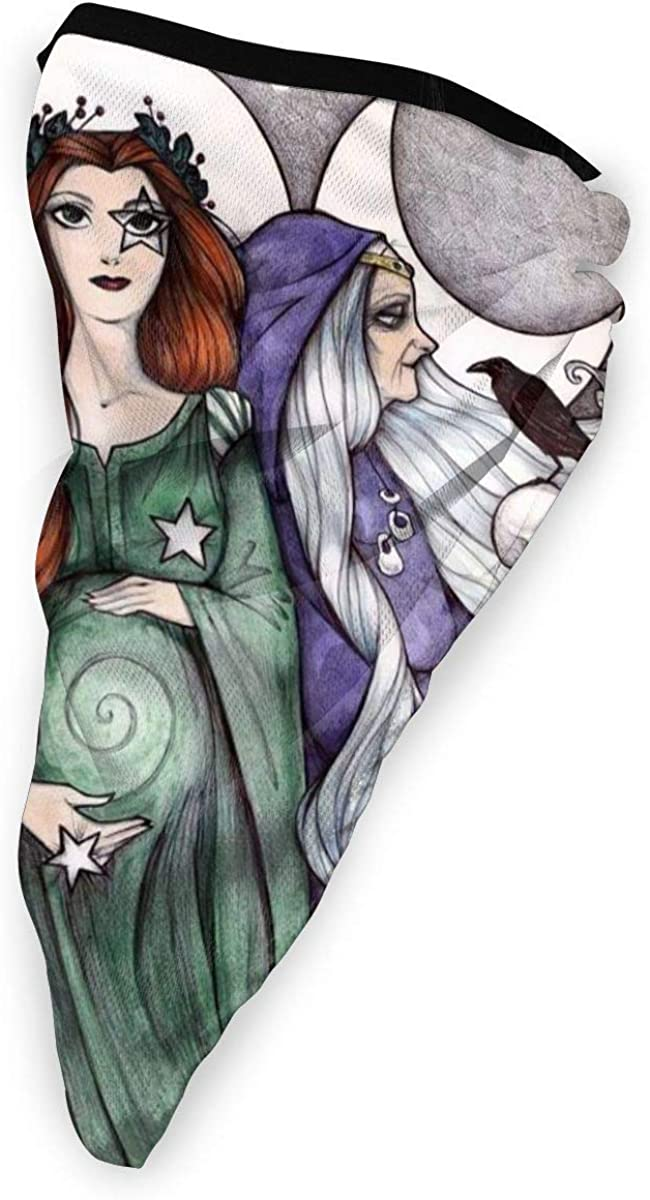 Dianic Wicca Witch Wiccan Triple Moon Goddess Unisex Adult Neck Windproof Mask Dust Sports Face Mask Half Balaclava Ski Mask Cold Weather Bandana Women Men Outdoors Festivals