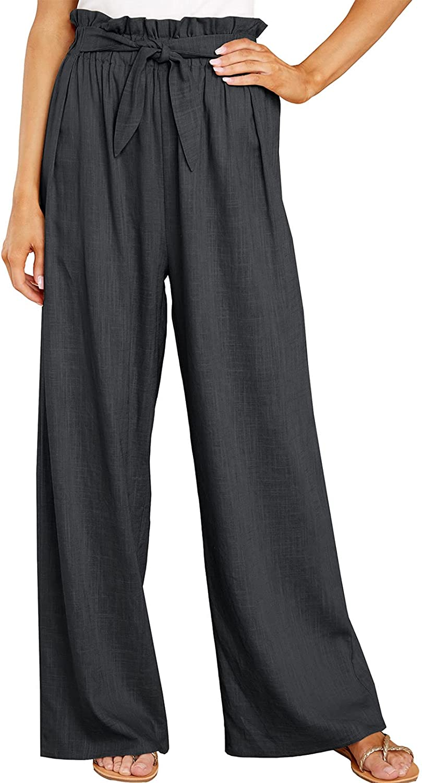 Bdcoco Womens Casual Wide Leg Pants Elastic Waisted Palazzo Pants