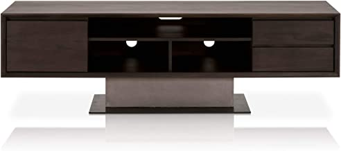 Star International Furniture Cuba TV Unit, Espresso/Slate Grey Concrete/Matte Black Metal