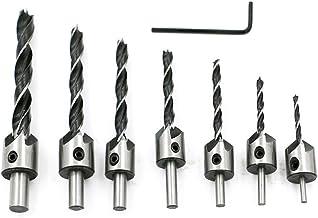 TOOGOO 7 unids avellanado brocas de tornillo conjunto Carpinteria chaflan herramienta escariador taladro carpintero 3-10mm