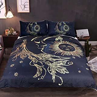 kxry Duvet Cover Set Sun and Moon Bohemian Boho Style Bedding Sets Soft for Girls Teens Black Golden Full Size 1 Duvet Cover + 2 Pillow Shams