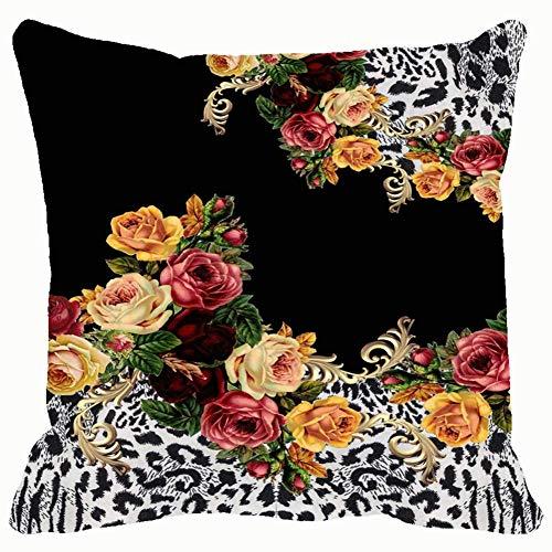 Funda de cojín cuadrada con diseño de rosas con estampado de animales, para hombres, mujeres, hogar, sofá, sillón, dormitorio, sala de estar, 45,7 x 45,7 cm