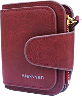 AlexVyan Women's Small Purse Wallet Female Hand Clutch Women/Ladies/Girls Wallets Card Holder 3 Pocket