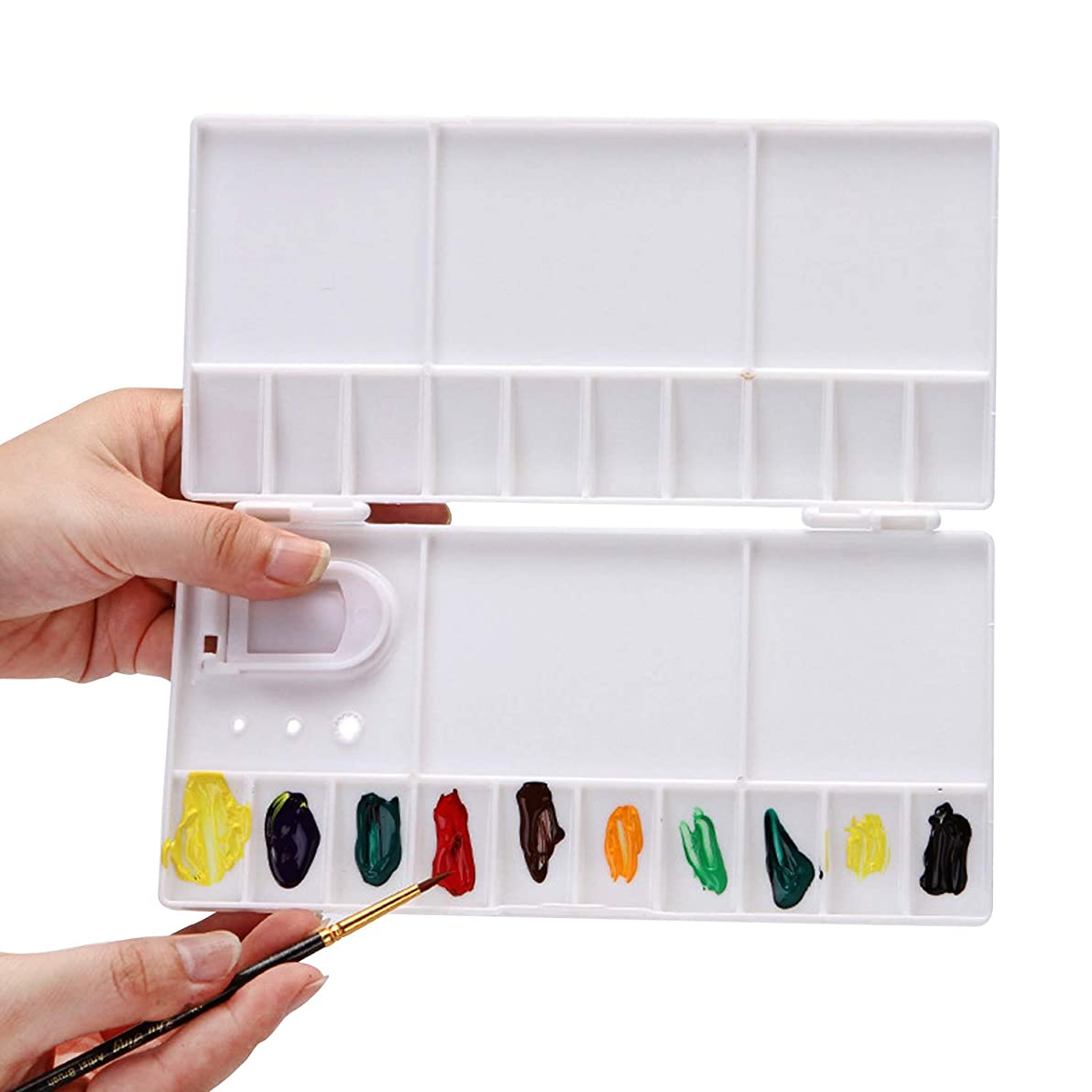 Honbay 25 Wells Plastic Folding Palette Box with Thumb Hole for Watercolors, Gouache, Acrylic and Oil Paint