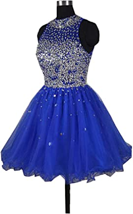 794fd16d74 Fannydress Crystals Beads Homecoming Dresses 2019 Short Jewel Open Back Piping  Prom Dresses for Party