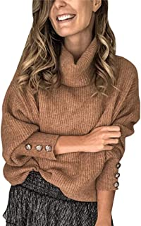 Fashion Women Comfy Scarf Collar Solid Buttons Sleeve Knitted Thicker Sweater Warm Top