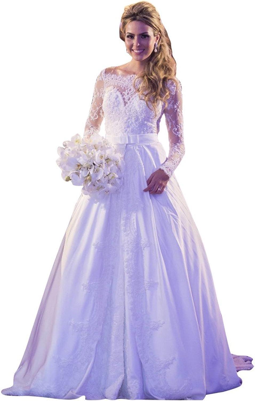 JoyVany Pearl Appliques Wedding Dress for Bride Lace Long Sleeve Wedding Dresses