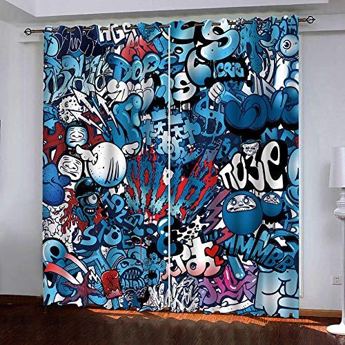 CHNXXL vorhänge kinderzimmer 3D Drucken Graffiti Lichtundurchlässige Vorhang mit Ösen Polyester Blickdicht Gardinen für Schlafzimmer Wohnzimmer 150(W) x166(H)(cm)