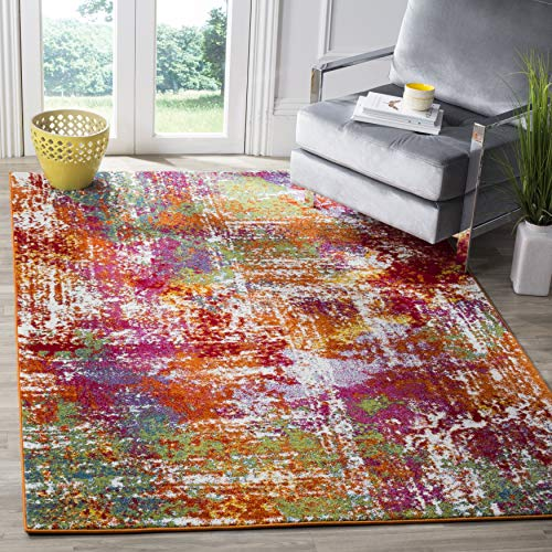 Safavieh Watercolor Collection WTC695D Modern Boho Abstract Non-Shedding Stain Resistant Living Room Bedroom Area Rug, 8' x 10', Orange / Green
