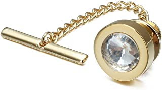 HAWSON Mens Tie Tack with Chain Round Crystal Wedding Business Accessories