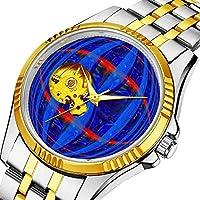 時計、機械式時計 メンズウォッチクラシックスタイルのメカニカルウォッチスケルトンステンレススチールタイムレスデザインメカニ (ゴールド)-909. Orb ダークブループリントウォッチ