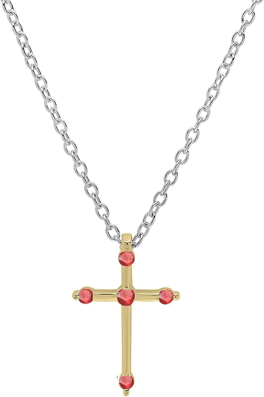Dazzlingrock Collection 18K Round Max 83% OFF Nippon regular agency Cross Pendant Gemstone Silver