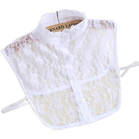 Damen falscher Kragen gefälschte halbe Shirt Bluse Blume Spitze abnehmbare