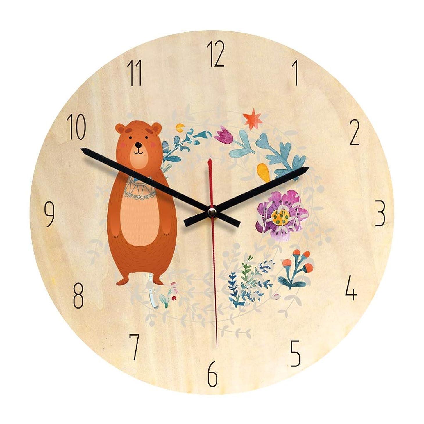写真を描く農奴意気消沈した壁時計木製ミュート時計リビングルーム時計装飾壁時計 JSFQ (Color : A)