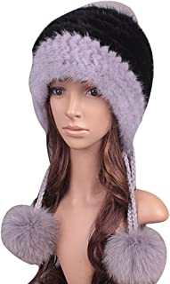 UK.GREIFF Womens Trendy Warm Stretch Mink Fur Winter Cap Hat