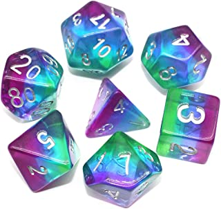 HD DND Dice Set,7-Die Polyhedral Dice Compatible Dungeons Dragons(D&D) Pathfinder Role Playing Game(RPG) MTG Tabletop Aurora Series Dice (Purple Aurora)
