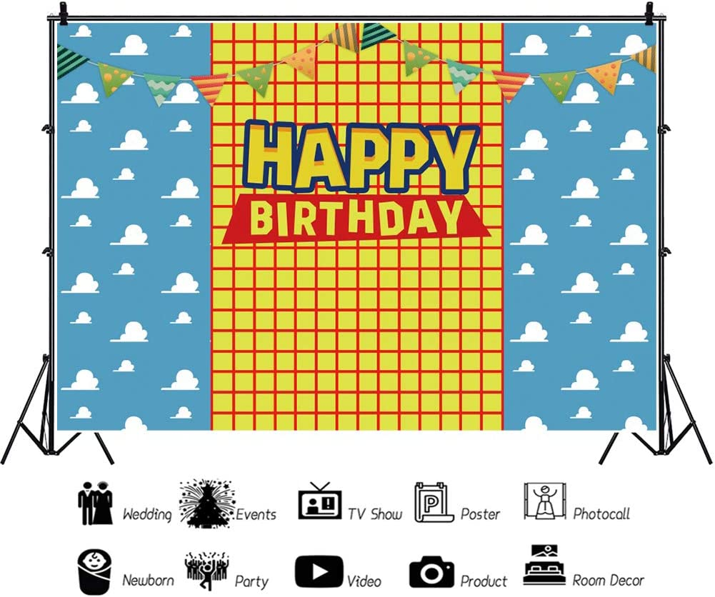 Renaiss 10x20ft Happy Birthday Backdrop Flag Bunting Yellow Grid Blue Sky White Cloud Photography Background Baby Girl Boy Birthday Party Banner Decoration Cake Table Studio Photo Booth Props