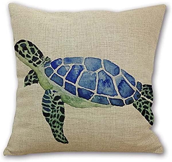 Animal Sea Turtle Wall Cotton Linen Decorative Pillowcase Throw Pillow Cushion Cover Square 18 18 Home Life