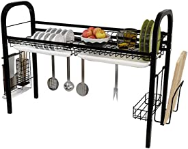Black Sink | Stainless Steel Dish Drying Rack | Tableware Storage Rack - with Water Tray for Kitchen, Storage