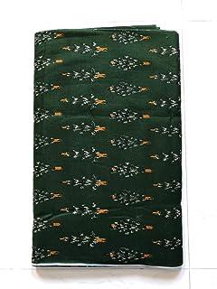 NK Textiles Women's Ikat Print Linen Cotton Unstitched Fabric   Mehendi Green   2.5 Meters   3 Meters   5 Meters   for Mak...