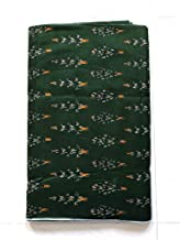 NK Textiles Women's Ikat Print Linen Cotton Unstitched Fabric | Dark Green | 2.5 Meters | 3 Meters | 5 Meters | for Making Kurtis, Gowns, Palazzo, Patiyala etc Dress Material