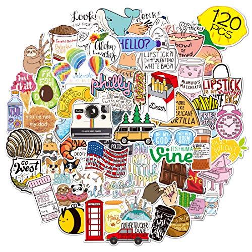Bibonse Aufkleber 120 Stück Wasserdicht Vinyl Graffiti Aesthetic Sticker Set,VSCO Aufkleber für Auto, Laptop, Koffer, Wasserflasche, Gitarre, Skateboard, Wände, Fenster, Kinder, Jungen, Mädchen Deko