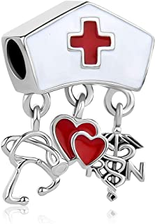 Lifequeen Heart RN Nurse Charms Dangle Charm Beads for Bracelets