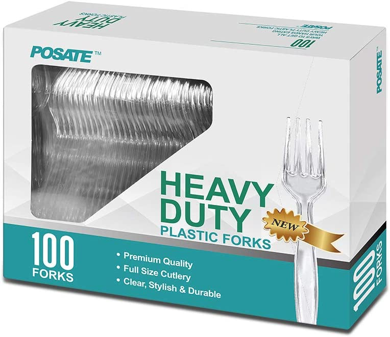 Heavy Weight Plastic Forks, Clear Disposable, 100 Packs