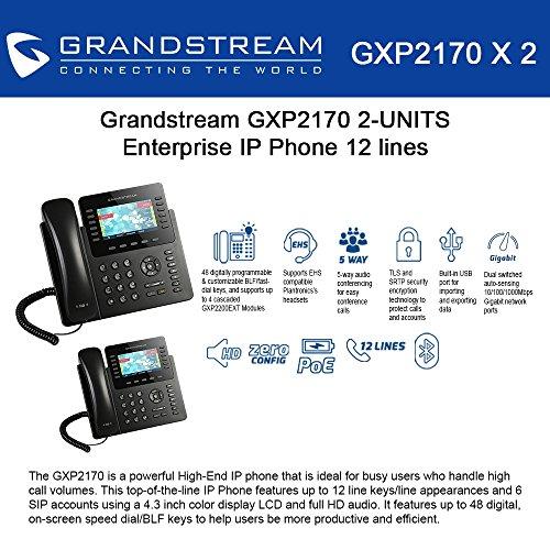 Grandstream GXP2170 (BUNDLE of 2) 12 Line IP Phone, Color Display-VoIP