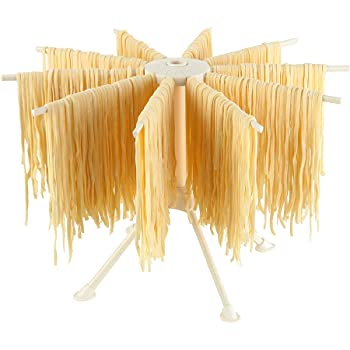Ourokhome Collapsible Pasta Drying Rack- Plastic Household Noodle Stander with 10 Arms (White)