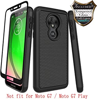 Moto G7 Power Case,Moto G7 Supra with [Tempered Glass Screen Protector] Nuomaofly Rugged Heavy Duty Shock-Absorption Protection (Black)