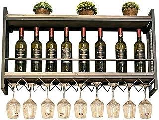 Organisation De Rangement De Cuisine Étagère De Casier À Vin en Métal Rétro Loft Fixé Au Mur Industriel, Bouteille De Vin...