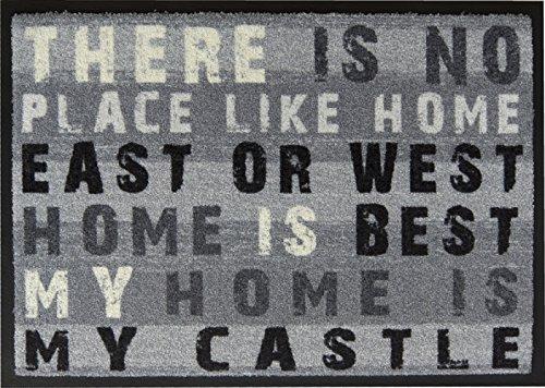 Paillasson / paillasson/paillasson/paillasson/paillassons/paillassons/paillassons/paillassons/paillassons/paillassons/paillassons/My Home Is My Castle – Gris – Sensation agréable de course/polyvalente/antidérapante/dimensions : env. 50 x 70 cm d'entrée/idéal Convient également pour la terrasse/Découvrez Easy Clean Tapis de sol dans toute la diversité. Les tapis Easy Clean sont lavables à 40 °C et passent au sèche-linge.