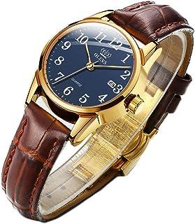 Men Women Wrist Watch Brown Leather-OLEVS Casual Classic...