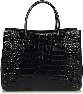 Ainifeel Damen Krokodil Prägung Lackleder Geldbörse Schulter Handtaschen Büro Lady Taschen