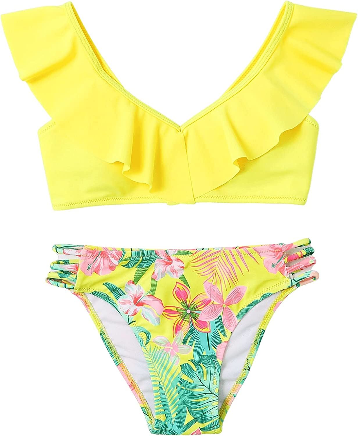 SOLY HUX Girl's Ruffle Trim Floral Print Bikini Bathing Suit Two Piece Swimsuits Yellow Floral 140