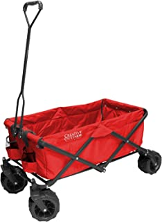 Creative Outdoor Distributor All-Terrain Folding Wagon, (Red) - Multipurpose Cart for Gardening, Camping, Beach Trips, and Travelling