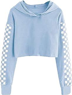 Kids Long Sleeve Crop Tops Girls Cute Plaid Hoodie Sweatshirts 4-12Years