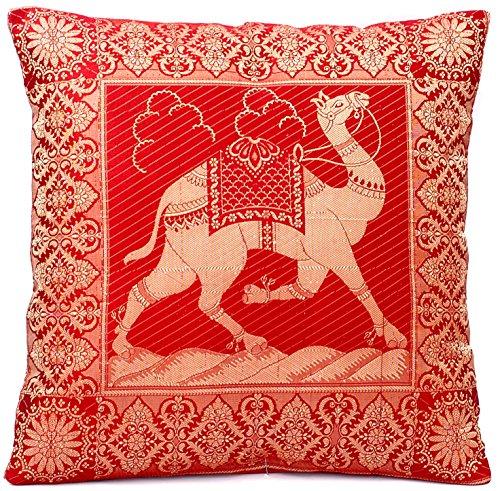 Röd indisk siden dekoration kuddfodral 40 cm x 40 cm, extra vagant kameldesign för soffa och säng dekorativa kuddar, kuddfodral från Indien. Erbjudandet gäller fram till slutet av månaden