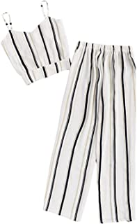 Women's Boho Striped Print Knot Crop Cami Top with Pants Set 2 Piece Outfit
