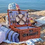 TOPQSC Juego de Cesta de Picnic 4 Personas Cesta de Mimbre para Picnic Hecha a Mano Impermeable Equipada Cubiertos Adecuada picnics en Parques Junto al Lago y Vacaciones en la Playa