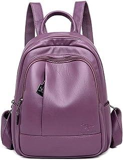 Backpack,New Classic Women Backpack Leather Backpacks School Bags for Teenage Girls Bagpack Mochila Feminina Sac A Dos Femme,Purple,China,MultipurposeDurable