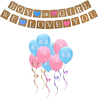 12 Piece Mini Gender Reveal Party Supplies Set, Boy or Girl Baby Welcome Decorations Set Including Balloons and Banners
